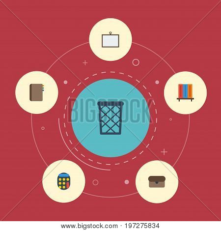 Flat Icons Bookshop, Whiteboard, Trash Basket And Other Vector Elements