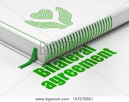 Insurance concept: closed book with Green Heart And Palm icon and text Bilateral Agreement on floor, white background, 3D rendering