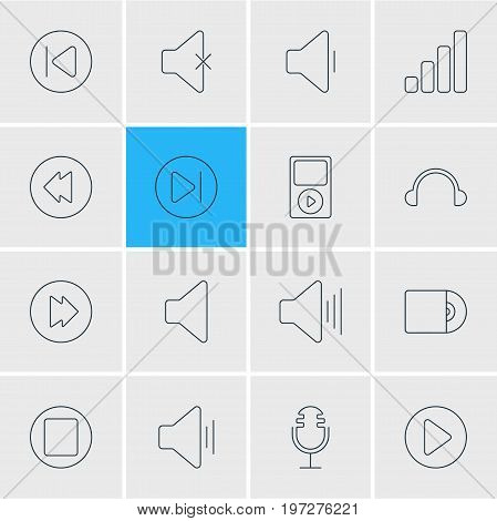 Editable Pack Of Soundless, Volume Up, Earphone And Other Elements.  Vector Illustration Of 16 Music Icons.
