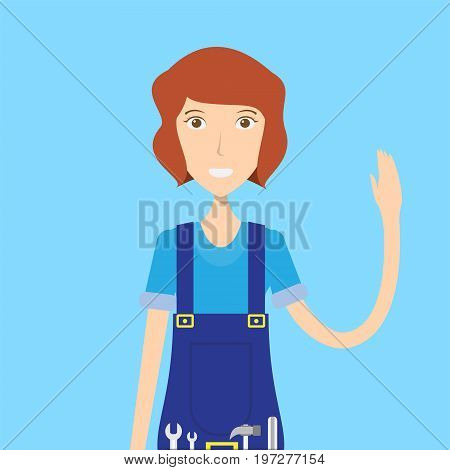 Mechanic Character Female | set of vector character illustration use for human, profession, business, marketing and much more.The set can be used for several purposes like: websites, print templates, presentation templates, and promotional materials.