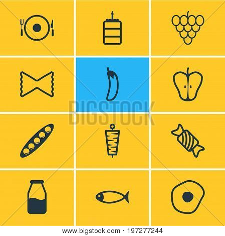 Editable Pack Of Macaroni, Seafood, Doner And Other Elements.  Vector Illustration Of 12 Meal Icons.