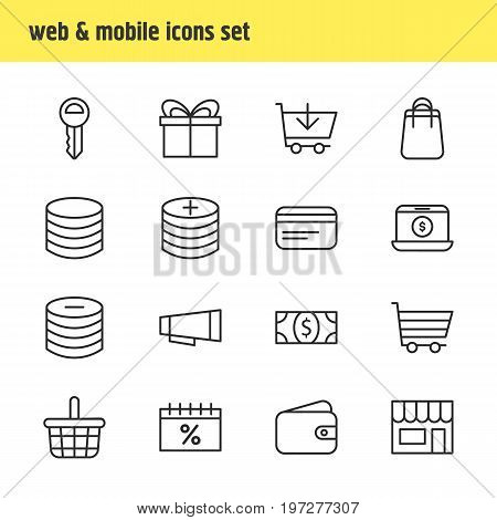 Editable Pack Of Discount, Pocketbook, Buy And Other Elements.  Vector Illustration Of 16 Wholesale Icons.