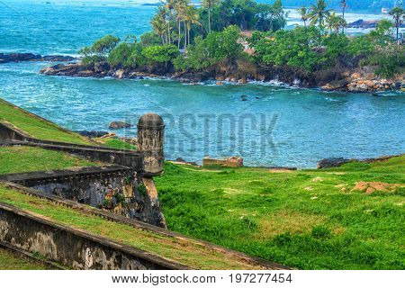 Scenic view of ancient Dutch Galle Fort known as one of UNESCO World Heritage Site in Sri Lanka