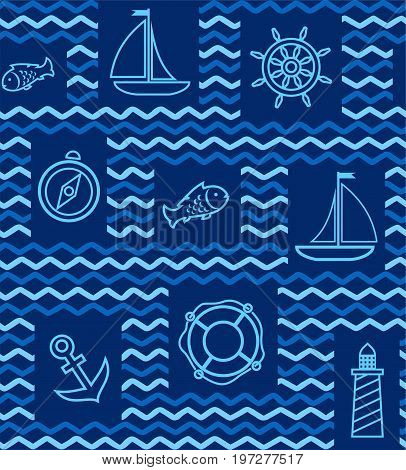 Nautical background, seamless, blue, wave, zigzag, contour drawing. Blue line drawings of the attributes of sea travel. Vector dark blue background.