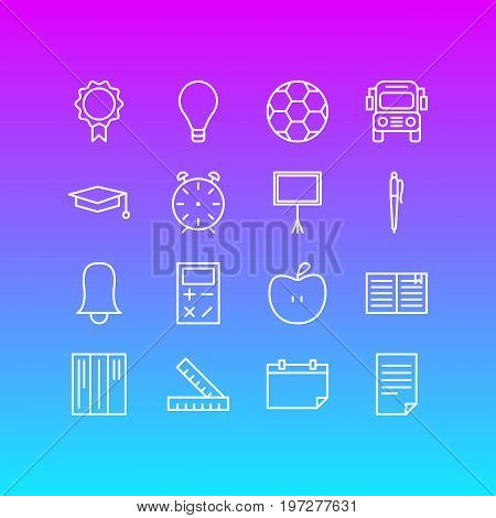 Editable Pack Of Car, Date, Bulb And Other Elements.  Vector Illustration Of 16 Science Icons.