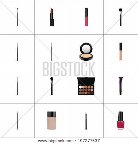 Realistic Varnish, Day Creme, Cosmetic Stick And Other Vector Elements