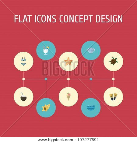 Flat Icons Beachwear, Shell, Sea Star And Other Vector Elements