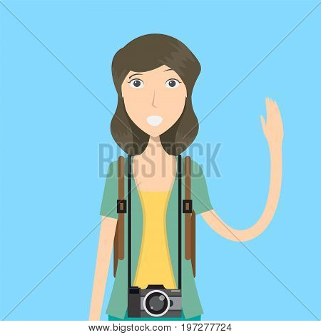 Photographer Character Female | set of vector character illustration use for human, profession, business, marketing and much more.The set can be used for several purposes like: websites, print templates, presentation templates, and promotional materials.