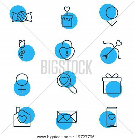 Editable Pack Of Male, Woman, Gift And Other Elements.  Vector Illustration Of 12 Amour Icons.