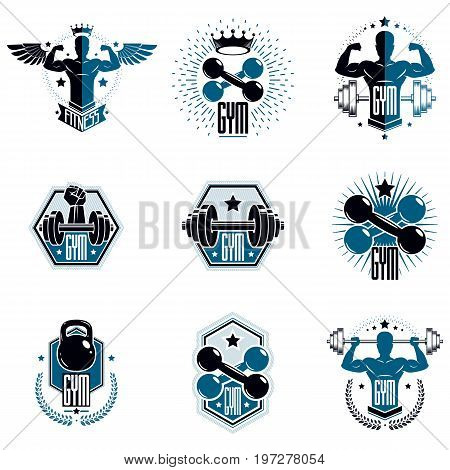 Logotypes for heavyweight gym or fitness sport gymnasium vintage style vector emblems set.