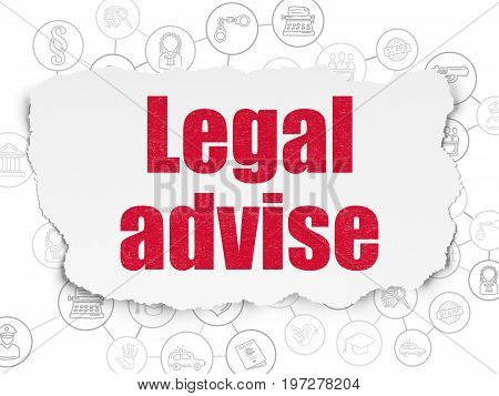 Law concept: Painted red text Legal Advise on Torn Paper background with Scheme Of Hand Drawn Law Icons