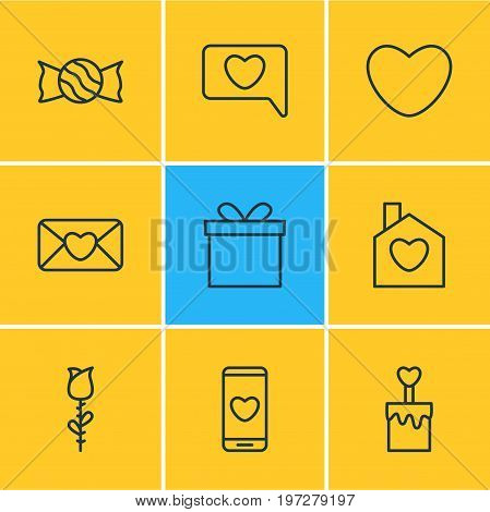 Editable Pack Of Invitation, Gift, Smartphone And Other Elements.  Vector Illustration Of 9 Amour Icons.
