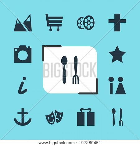 Editable Pack Of Cross, Cafe, Masks And Other Elements.  Vector Illustration Of 12 Travel Icons.