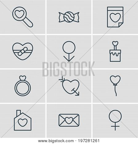 Editable Pack Of Woman, Engagement, Present And Other Elements.  Vector Illustration Of 12 Amour Icons.