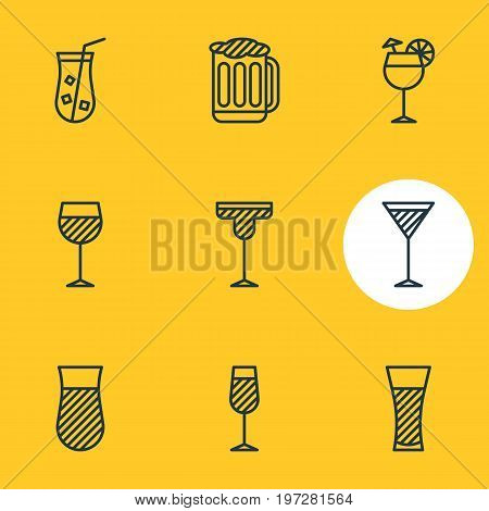 Editable Pack Of Lemonade, Draught, Martini And Other Elements.  Vector Illustration Of 9 Beverage Icons.