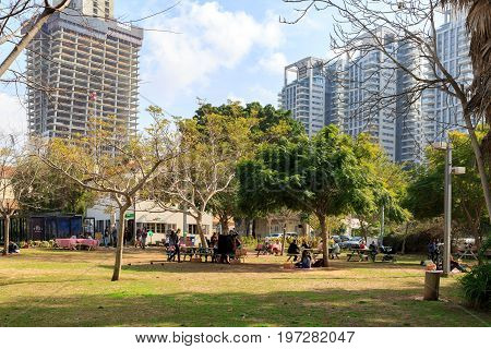 Tel-aviv, Israel - January 22, 2016: Park With People In Sarona