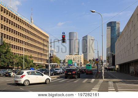 Tel-aviv, Israel - January 22, 2016: Crossroad On  Eliezer Kaplan Street And Dubov Street