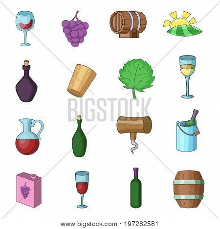 Wine yard icons set. Cartoon illustration of 16 wine yard vector icons for web