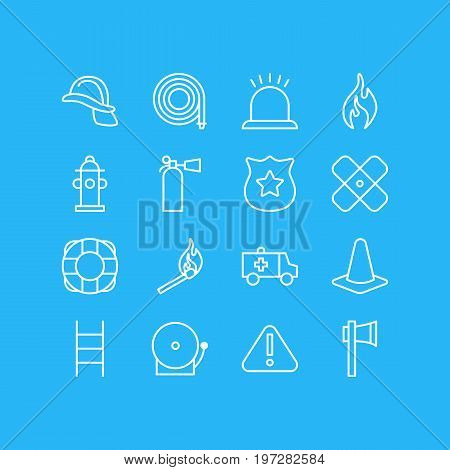 Editable Pack Of Taper, Ax, Burn And Other Elements.  Vector Illustration Of 16 Extra Icons.