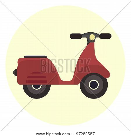 Flat red scooter icon motor bicycle. Modern alternative youth city transport. Ecological fashion teenager transport isolated symbol