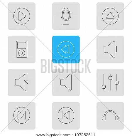 Editable Pack Of Soundless, Earphone, Reversing And Other Elements.  Vector Illustration Of 12 Melody Icons.