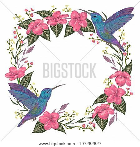 Wreath with hummingbird, tropical flowers and leaves. Exotic flora and fauna. Vintage hand drawn vector illustration in watercolor style