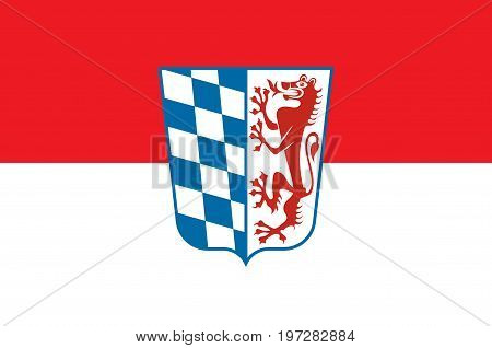Flag of Lower Bavaria is one of the seven administrative regions of Bavaria Germany. Vector illustration