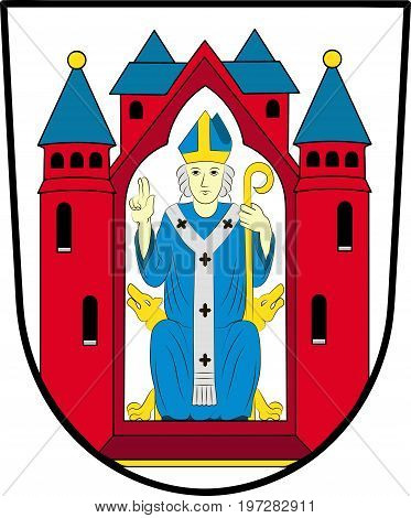 Coat of arms of Aschaffenburg in Lower Franconia in northwest Bavaria Germany. Vector illustration from the