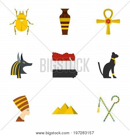 Egyptian pyramids icons set. Cartoon set of 9 egyptian pyramids vector icons for web isolated on white background