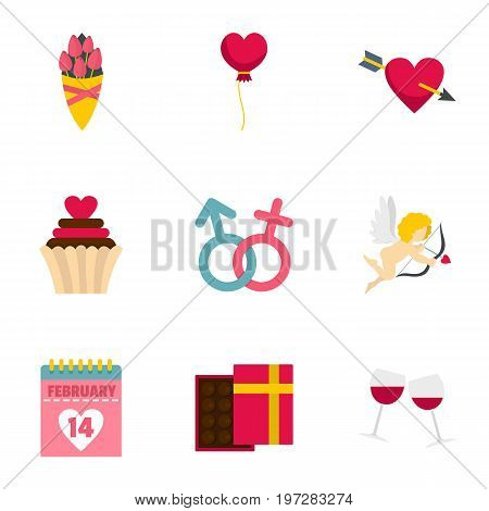 Lovers day icons set. Flat set of 9 lovers day vector icons for web isolated on white background