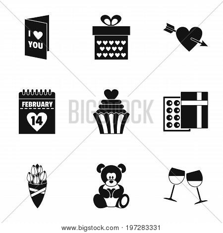 Lovers day icons set. Simple set of 9 lovers day vector icons for web isolated on white background