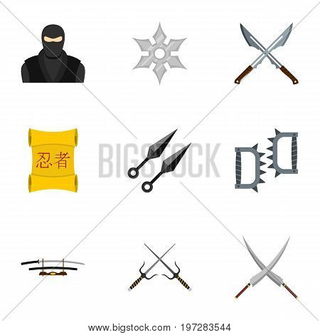 Samurai icons set. Flat set of 9 samurai vector icons for web isolated on white background