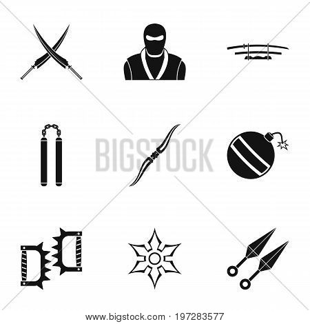 Samurai icons set. Simple set of 9 samurai vector icons for web isolated on white background