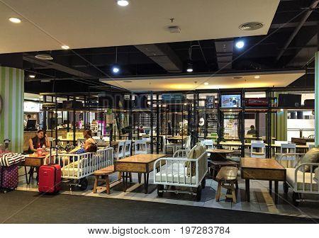 Kuala Lumpur, Malaysia - Oct 4, 2016: Coffee shop at KLIA Airport in Malaysia