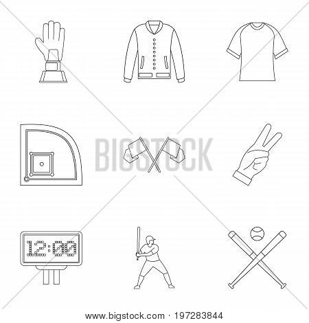 Baseball tournament icons set. Outline set of 9 baseball tournament vector icons for web isolated on white background