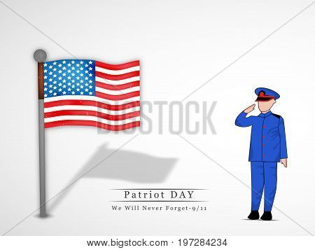 illustration of soldier saluting and USA flag with Patriot Day we will never forget text on the occasion of Patriot Day