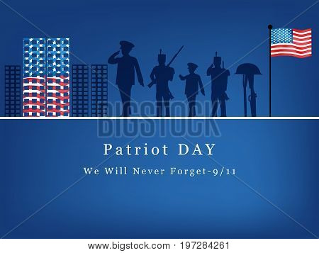 illustration of soldiers, rifle in hat and USA flag with Patriot Day We will never Forget text on the occasion of Patriot Day