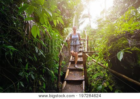 Woman traveler with backpack goes down the bamboo stairs in the rain forest into the cave. Ecotourism and explorer concept image travel woman.