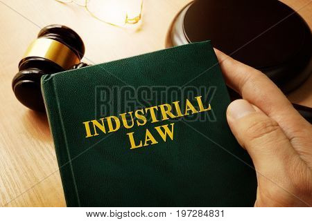 Industrial law and gavel on an office table.
