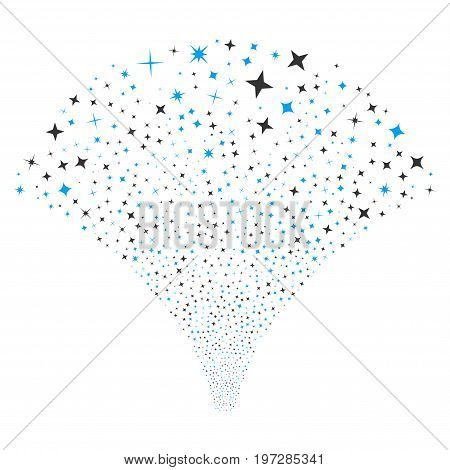 Source stream of shine stars icons. Vector illustration style is flat blue and gray iconic symbols on a white background. Object source made from random symbols.