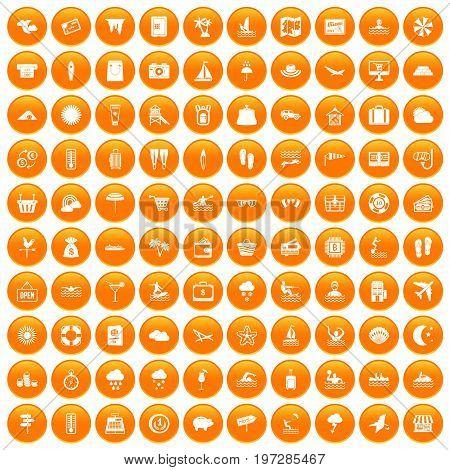 100 seaside resort icons set in orange circle isolated on white vector illustration