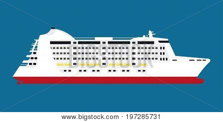 Big spacious white cruise liner for lot of passengers isolated flat cartoon vector illustration on blue background. Comfortable luxurious water transport for long distance voyages around world.