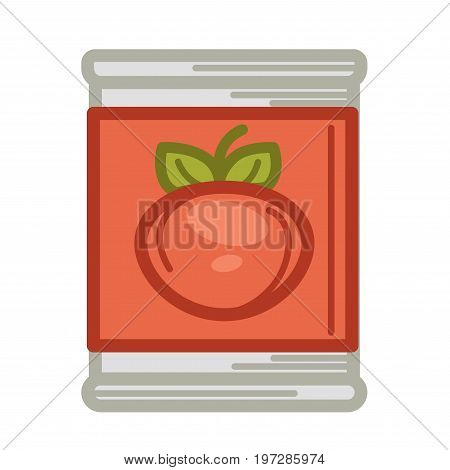 Vector illustration of tin with conserved tomatoes isolated on white.