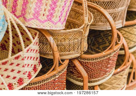 Handcraft Woven Basket Product Of Thailand Otop Shop Sme Best Thai Quality For Sale.