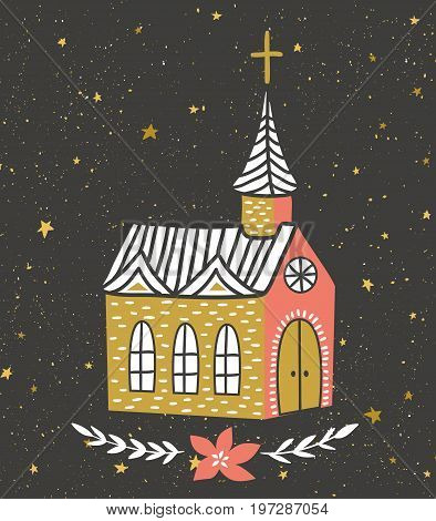 Hand drawn vector card with the Catholic temple and starry sky. Christmas print design. Vector illustration.