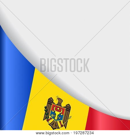 Moldovan flag wavy abstract background. Vector illustration.