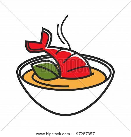 Bowl with cream soup made of lobster isolated cartoon vector illustration on white background. Soup with amazing and refined taste, that served for festive dinner in small portion before main courses.