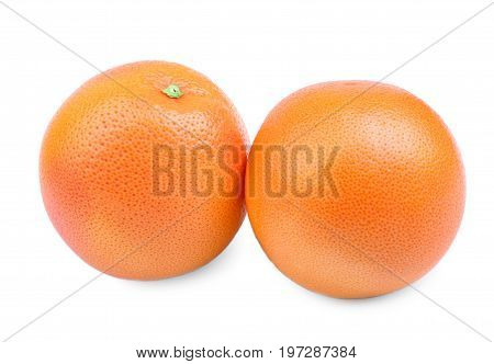 A pair of tropical bright oranges, isolated on a white background. Tropical and exotic, fresh and bright oranges. Delicious citrus fruits. A close-up of two ripe oranges. Sweet citrus fruits.