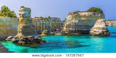 Stacks of Torre Sant' Andrea Salento coast Puglia region Italy