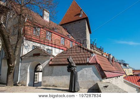 View of Old Town and gate from Danish Kings Garden. Tallinn Estonia Europe